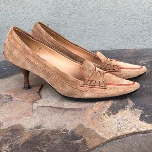 Tod's suede pointed toe heels